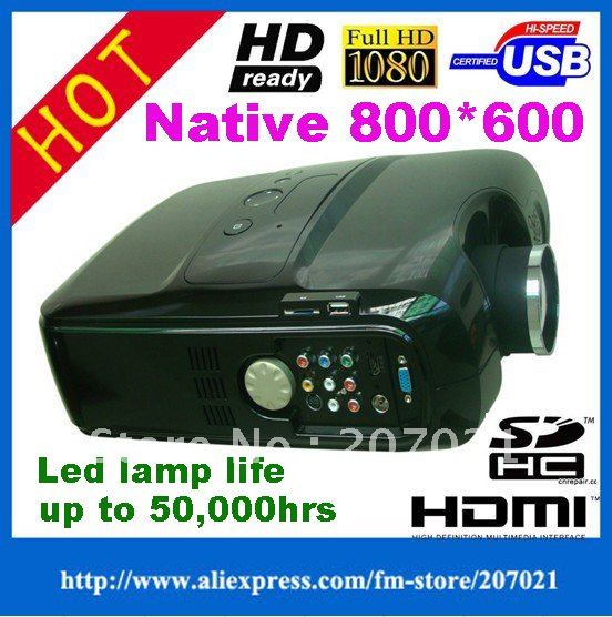 Alibaba aliexpress 2500 lumens HDMI Home theater Portable LED screen Projector/proyector with USB/ SD card/ Built in TV turner(China (Mainland))