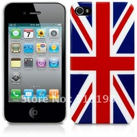 Wholesale New retro old UK English British flag hard case back cover for iphone 4  4G 4S  BH0003