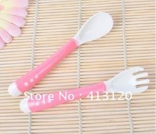 Free Shipping 1 Set Kids Feeding Spoon Fork Baby Soft Feeding Utensil Flatware