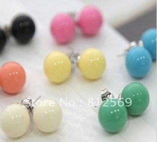 New Arrival, Hot Sale, F2065 Candy round ball Multi Color Woman Earring Girl Stud earring Bohemian Vintage Free Ship(China (Mainland))