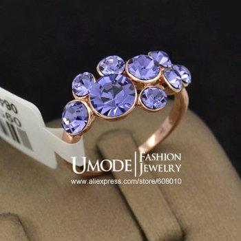 18K Розовый Золото Plated Beautiful Фиолетовый Crystal Grape Cluster Finger Rings ...