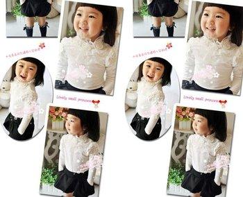 New arrival  kids fashion t shirt,girls white three flower high-grade cotton tee shirt,children's clothing wholesale,long sleeve
