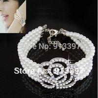 24PCS Korea Hot Delicate Flower Rose 4 Layer Pearl Bracelet HOT!!Fashion Bangle 4 layer Pearl rose multilayer Vintage Bracelet