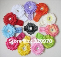 Free shipping new Crochet headband   Gerbera Daisy flower clip,  children headbands kid's accessories