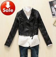 NEW Women's Punk PU Faux Leather Cropped Studded Jacket Punk Bomber Biker Racer Motorcycle Black Short Blazer Stud Free Shipping