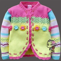 Free shipping flower Fengy unbobi children woollen sweater for girl thick style autumn and spring for wholesale and retail