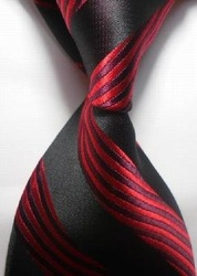 free shipping!!! 10cs Red black Stripe Silk Classic Woven Man Tie Necktie(China (Mainland))