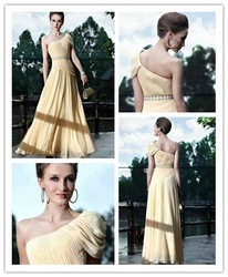 Pale yellow cap sleeve bridesmaid dress one shoulder(China (Mainland))
