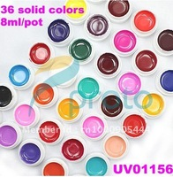 Freeshipping-36 Pure Solid Colors UV Gel for UV Nail Art Tips Extension Decoration #UV01156