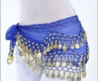 free shipping 128 coins belly dance accessory sexy belly dance costume hip scarf belt,15 colors(can be mixed)