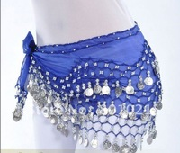 free shipping 128 coins belly dance accessory belly dance fan veils hip scarf belt,15 colors(can be mixed)