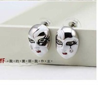 2012 NEW Wholesale Fashion Skeleton earrings Halloween mask earrings jewelry Colored drawing earrings free shipping YLB002