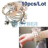 Wholesale 10Sets/Lot 10 x 10Pcs Palace Style European Multilayer Bracelet Jewelry Free Shipping