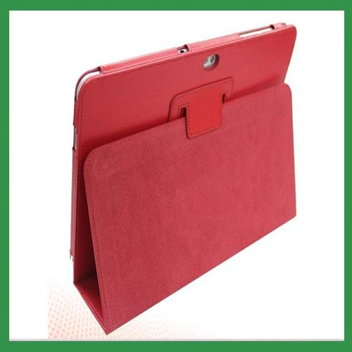New PU Leather Cover For Notebook Samsung Galaxy Tab 10.1 P7510 Case with stand Free Shipping Red Colour(China (Mainland))