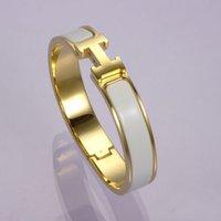 2012 Stylish Designer Cheese White Enamel Bracelet,Timeless Favorite Clic H Narrow Enamel Bracelets,Yellow Gold Plated Hardaware
