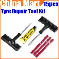 Car  Motorcycle Bicycle Tubeless Tire  Puncture Plug Repair Sealant Cement Fix Tool Kit Express 15pcs/lot