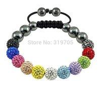 2012 fashion Colourful  crystal shamballa bracelet