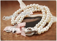 6PCS Imitation Pearl Chain Rhinestone Bracelet Bangle Bead,Peace sign fashion three-tier Pearl bracelet