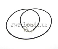 Free Shipping Rubber Necklace Cord, korea style, brass extender chain lobster clasp, 2mm, 6x12mm, 100Strands, Length:18 Inch