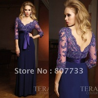 Free Shipping!!!Elegant v-neck purple chiffon long evening dresses with lace sleeve