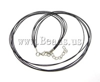 Free Shipping Nylon Necklace Cord,  mutil-strand, extender chain brass lobster clasp, 0.6mm, 6x12mm, 100Strands 20 Inch,