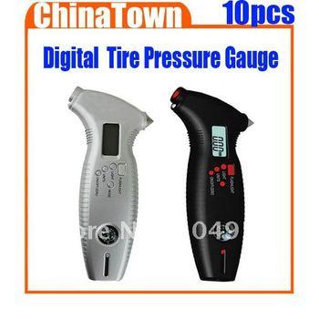 8 in 1 Digital LCD Car Tyre Tire Pressure Gauge Meter Car Hammer LED flashing Compass Free Express 10pcs/lot