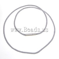 Free Shipping Silver Necklace Chain, with brass bayonet clasp, 2mm, 50Strands/Group, Length:17.5 Inch, Sold by Group