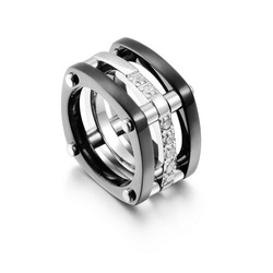 Sexy Looking Black Titanium 3-Band Ring,In 18K White Gold,Insert Gemstone,Gorgeous Diamonds Ring For Pretty Ladies,A Joyful Gift(China (Mainland))