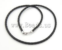 Free Shipping Leather Necklace Cord, single strand, black color, with 925 sterling silver clasp, 3mm, Length:18.5 Inch