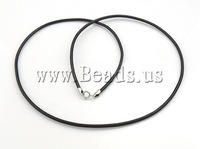 Free Shipping Leather Necklace Cord, single strand, black color, with 925 sterling silver clasp, 2mm, Length:18 Inch,