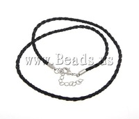 Free Shipping Leather Necklace Cord, black color, extender chain with brass lobster clasp, 3mm, 6x12mm, 100Strands/Group 18 Inch