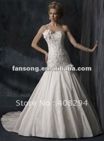 Exquisite single strap drop waist taffeta A line wedding dress