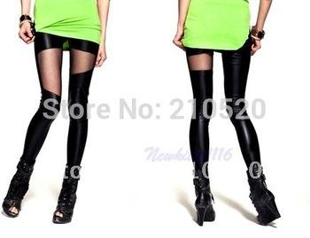 Free Shipping 2PCS/LOT Women Slim Asymmetric Sheer Mesh Panel Black Stretch Leggings Pants Autumn & winter