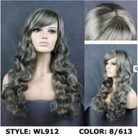 2012 Hot sales,Elegant long hair, beautiful Russian wig, white wig, long hair, long bang,free shipping,Drop shopping