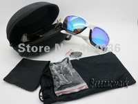 Free shipping  Unisex 8-Pack  UV Sunglasses/Goggles/Safety Glasses/Wind Mirror(With Case)  White+Black frame