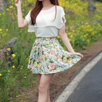 2012 summer pleated skirt puff skirt plus size bust skirt chiffon skirt short skirt women's