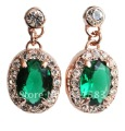 Min.order is $10 (mix order) Emerald Green 18k Nickel Free Gold Finish Austrian Crystal Stud earrings for woman Wholesale E291