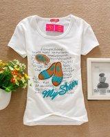 модные футболки л48 леди/женская бренд хлопок рубашки/женские рубашки бабочка и цветок с длинным рукавом