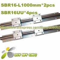 Free shipping for linear bearing slide unit SBR16-1000mm 2 rails support+4 blocks bearing units