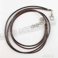 45pcs/lot Wholesale Fashion Coffee Leather Two Strands With Clasp Necklace Cords Fit Jewelry Necklace Findings Charms 130321