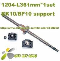 1204 Rolled Ballscrew set- 1pcs SFU1204 -L300mm+61mm(machining parts) +1pcs ballnut + end machining + 1set BK10 BF10 Support
