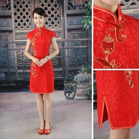 2012 red bride cheongsam married summer improved cheongsam short design cheongsam formal dress vintage cheongsam