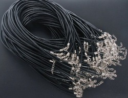 15 Black Real Leather Necklace Cord 3mm W/ Clasps 18.5(China (Mainland))