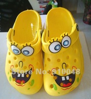 Hot selling children boys girls unisex  yellow cartoon sponge bob  clogs shoe / casual garden shoe /  baby shoe