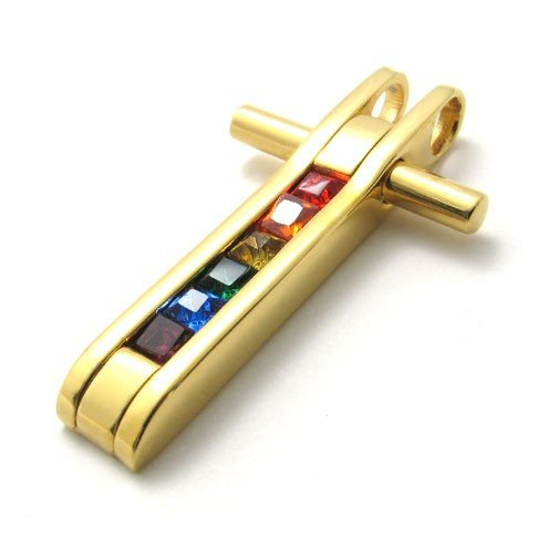 new products for 2012 colorful rhinestone sideways cross Pendants mens jewelry wholesale stainless steel gold Plated BY74854(China (Mainland))