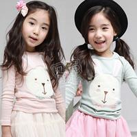 2014 Direct Selling Top Fasion Freeshipping Full Free Shipping! Autumn Rabbit Girls Clothing Baby Long-sleeve Children's T-shirt