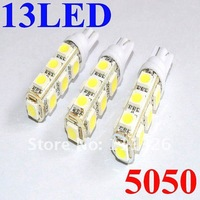 Free shipping wholesale  T10 13 SMD 5050 indicator Light Auto car led bulb  LED Signal Lights white super bright