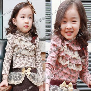 Free Shipping! 2013 autumn lace decoration girls clothing baby long-sleeve T-shirt