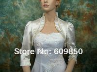 Fast delivery 3/4 sleeve handmade flod white  plain dyed wedding  bridal wraps