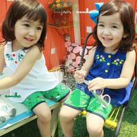 Free New Time-limited Freeshipping O-neck Sleeveless Shipping! 2014 Girl 100% Cotton Kids Summer Set,girls' Twinset Clothing